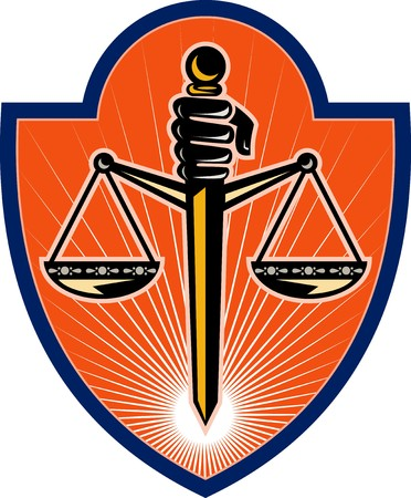 scales of justice: illustration of a  Hand holding sword scales of justice set inside a shield