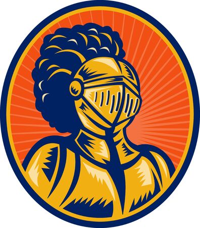 bust up: illustration of a Bust of Knight in full gear set inside a circle.