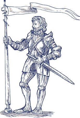 illustration of a Knight standing with lance and flag illustration