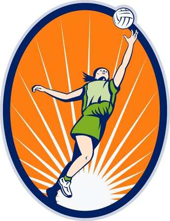 rebounding: illustration of a netball player reboundng jumping for ball set inside an oval with sunburst in background