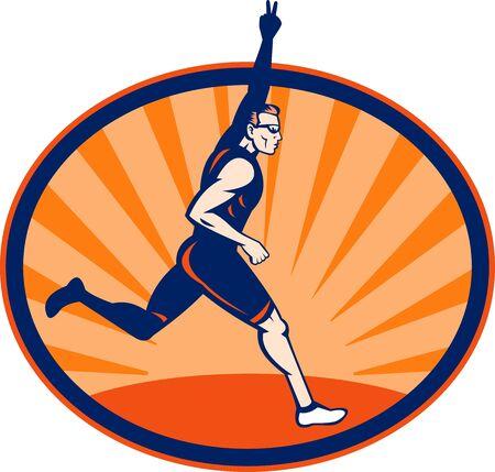 elipsy: Ilustracja lekkoatleta Triathlon migający znak zwycięstwo ustawić wewnątrz elipsy.