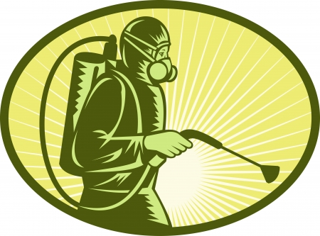 spraying: illustration of a Pest control exterminator worker spraying side view