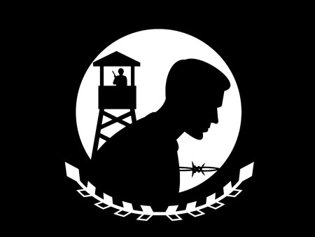 military watch: illustration of the POW MIA flag. This flag is in the public domain in the United States because it is a work of the United States Federal Government under the terms of Title 17, Chapter 1, Section 105 of the US Code. Stock Photo