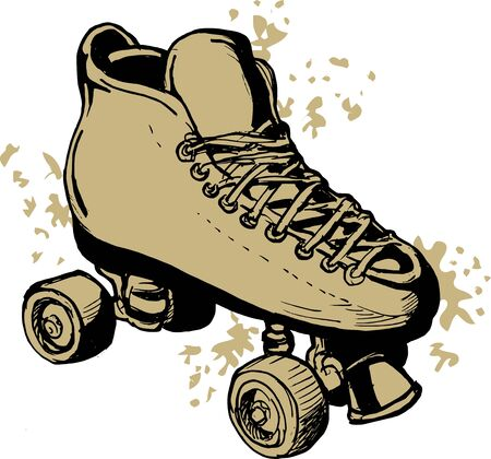 roller skates: illustration of a Hand drawn Roller skates  isolated on white background. Stock Photo