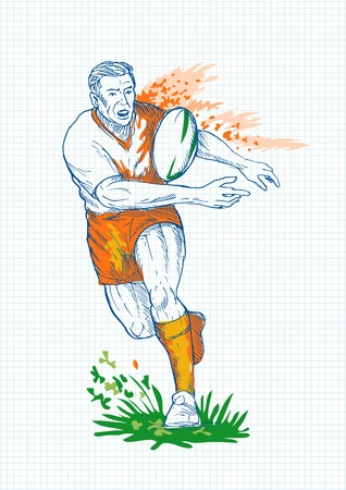 illustration of a hand sketch  Rugby player running and passing ball with grid in the background. illustration