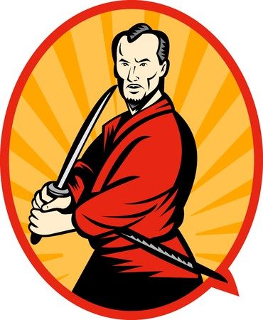 man pointing up: illustration of a Samurai warrior with katana sword pointing to side set inside an oval. Stock Photo