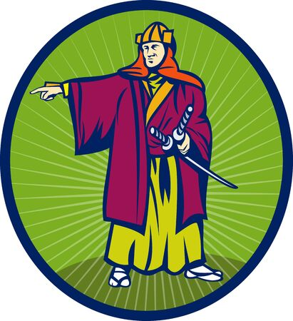 illustration of a Samurai warr with katana sword pointing to side set inside an oval. Stock Illustration - 7369659