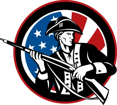 illustration of an American revolutionary soldier with rifle and flag in background set inside a circle Stock Illustration - 7490171