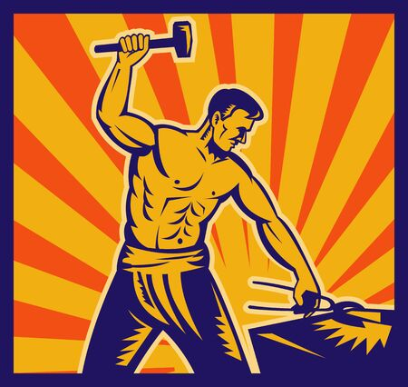 illustration of a Blacksmith at work wielding a hammer with sunburst in background done in retro woodcut style. Stock Illustration - 7490186