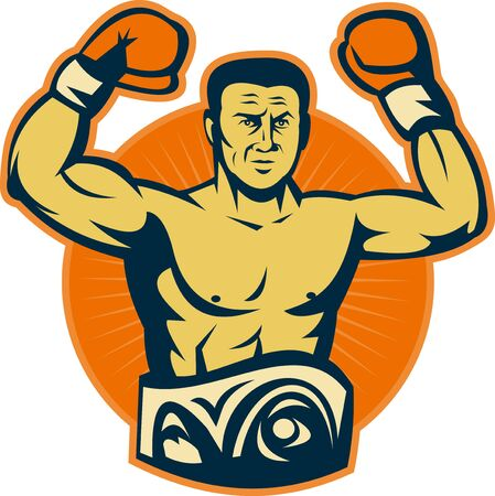 male boxer: illustration of a Champion boxer with championship belt raising gloves