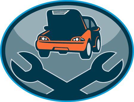 vehicle breakdown: illustration of a Automobile car breakdown mechanical repair  with spanner