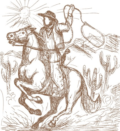 hand drawn illustration of a Cowboy with lasso riding a horse with cactus and mountains in the background. illustration