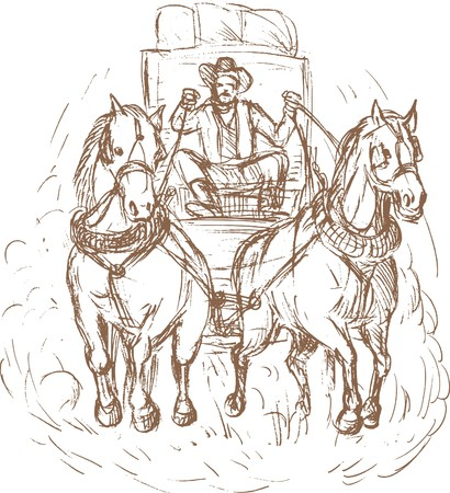 carriage: hand drawn illustration of a Cowboy stagecoach driver and horses front view isolated on white. Stock Photo
