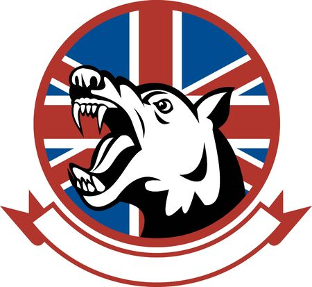 illustration of a Angry Trained guard dog with british flag in the background illustration