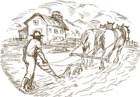 sketched: hand drawn sketched vector illustration of a Farmer and horse plowing the field with barn farmhouse