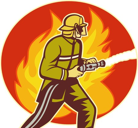 fireman helmet: illustration of a Firefighter fireman with water hose fighting fire viewed from the side with flames in background. Stock Photo