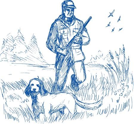 cazador: dibujo de ilustraci�n de esbozo de un Hunter y la caza de perro de ca��n de puntero capacitados de mano