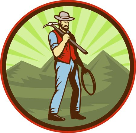 coal miner: illustration of a Miner carrying pick axe with mountains set inside an oval