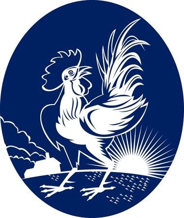 illustration of a Rooster cockerel crowing with sunburst and house Stock Illustration - 7490194