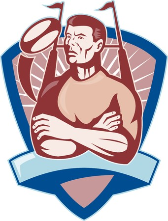 goal post: illustration of a Rugby player looking up with ball and goal post
