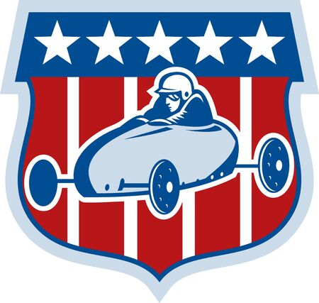illustration of an american Soap box derby car with stars and stripes in the background. Stock Illustration - 7490128