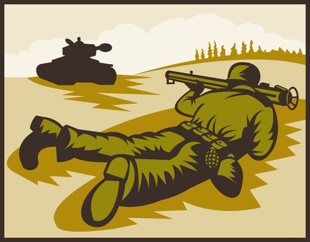 world war two:  illustration of a World two soldier aiming bazooka at battle tank.