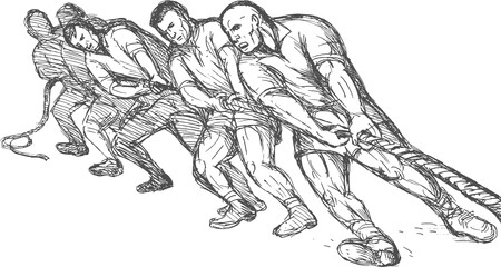 pulling rope: hand drawn illustration of a Team or group of men pulling rope tug of war