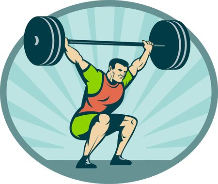 man full body: illustration of a Weightlifter lifting heavy weights with sunburst in background.