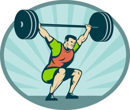cuerpo completo: Ilustraci�n de una pesada de elevaci�n de levantador de pesas pesos con rayos en segundo plano.