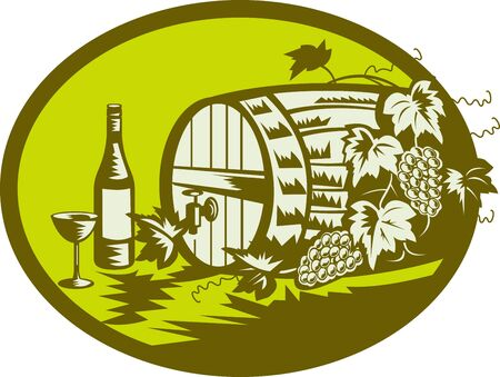 wine barrel: illustration of a Wine barrel or wooden keg with grape vine and fruit and wine bottle and glass done in retro woodcut style. Stock Photo