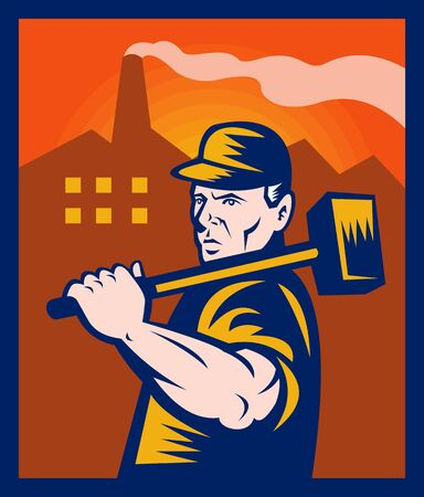 illustration of a factory worker with sledgehammer with buildings in the background. Banco de Imagens