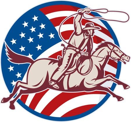 rodeo americano: Ilustraci�n de un vaquero montando a caballo con lazo y la bandera americana  Foto de archivo