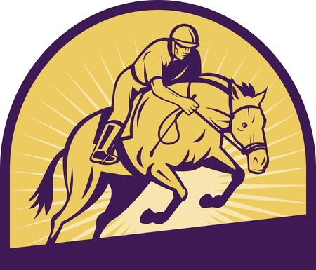 horse show: illustration of an equestrian show jumping with horse with sunburst in the background.