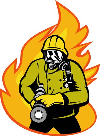 illustration of a Fireman or firefighter with fire hose and fire in the background. Stock Illustration - 7490119