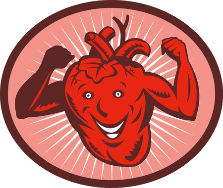 illustration of a Happy and healthy  heart flexing its muscle Stock Illustration - 7490122