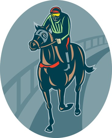 illustration of a Horse and jockey racing  on race track done in retro style. illustration