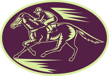 illustration of a Horse and jockey racing side view done in woodcut style. illustration
