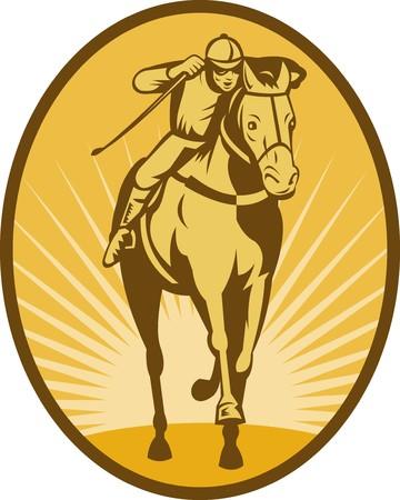 ippica: illustrazione di un cavallo e fantino vista frontale in stile Xilografia da corsa.