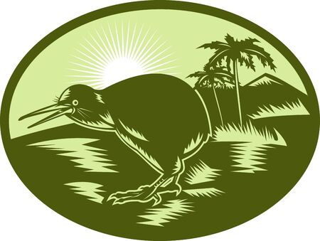 illustratin: illustratin of a Kiwi bird side view with tree in background done in retro woodcut syle