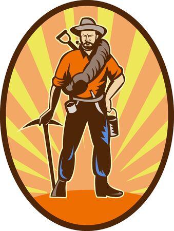prospector: Ilustración de un minero, prospector o buscador de oro con elegir hacha y pala frontal de pie