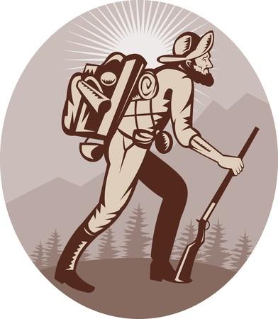 illustration of a Miner prospector hunter trapper hiking with sunburst in background Stock Illustration - 7490164
