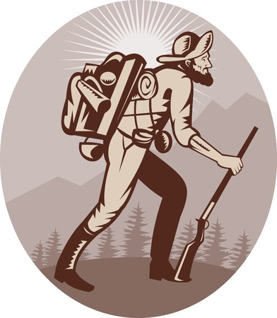 tramping: Ilustraci�n de un cazador de cazador de prospector Miner senderismo con rayos en segundo plano
