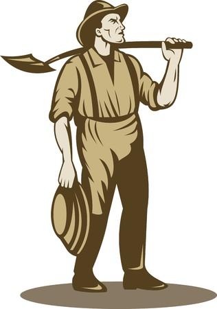 prospector: Ilustración de un minero, prospector o buscador de oro con pala de pie frente aislado en blanco
