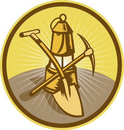 mining: illustration of a Mining or miners lamp with shovel and pick axe