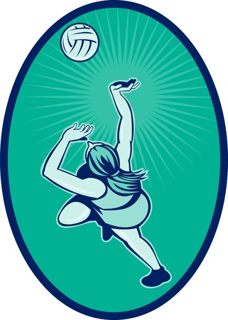 rebounding: illustration of a Netball player rebounding jumping for ball