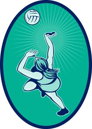 rebounding: illustration of a Netball player rebounding jumping for ball