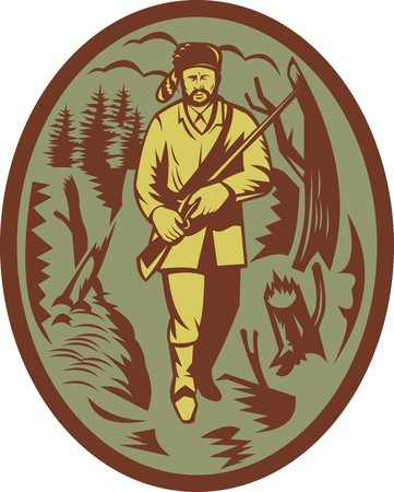 illustration of a pioneer hunter trapper with rifle illustration