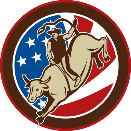 illustration of a Rodeo cowboy bull riding with stars and stripes in the background illustration