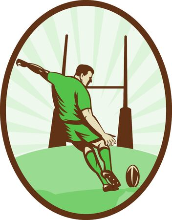 goal post: illustration of a Rugby player kicking ball at goal post viewed from the rear set inside an ellipse done in retro style.