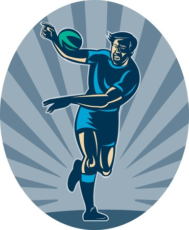 illustration of a Rugby player running with ball and passing illustration